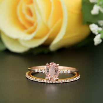 Vintage Ring 1.50 Carat Oval Cut Peach Morganite and Diamond Bridal Ring Set in Rose Gold