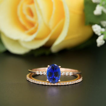 1.50 Carat Oval Cut Sapphire and Diamond Wedding Ring Set in White Gold Elegant Ring