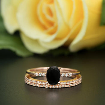 2 Carat Oval Cut Black Diamond and Diamond Trio Wedding Ring Set in White Gold Elegant Ring