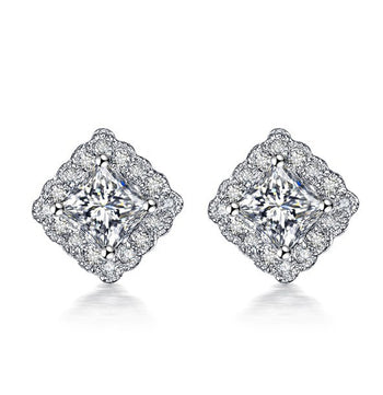 Cluster .50 Carat Princess and Round Cut Diamond Stud Earrings in White Gold