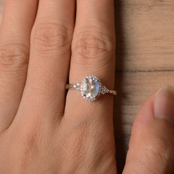 Vintage 1.50 Carat Oval Cut Blue Moonstone and Diamond Halo Engagement Ring in White Gold