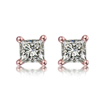 .50 Carat Princess Cut Diamond 4 Prong Stud Earrings in Rose Gold