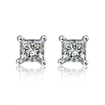 .50 Carat Princess Cut Diamond 4 Prong Stud Earrings in White Gold