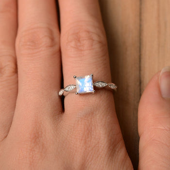 Art Deco 1.25 Carat Princess Cut Blue Moonstone and Diamond Engagement Ring in White Gold