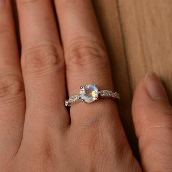 Antique 1.25 Carat Round Cut Blue Moonstone and Diamond Milgrain Engagement Ring in White Gold