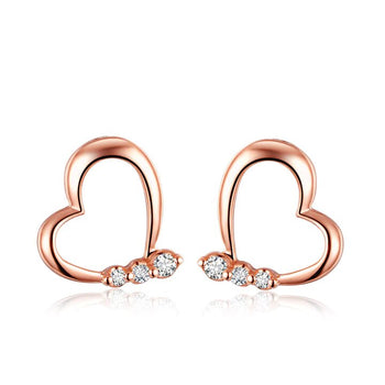 Heart Shape .10 Carat Round Cut Diamond Stud Earrings in Rose Gold