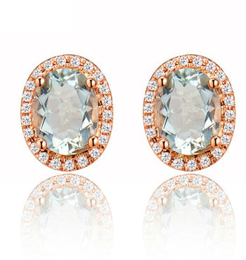 2.50 Carat Oval Cut Aquamarine and Diamond Halo Stud Earrings in Rose Gold
