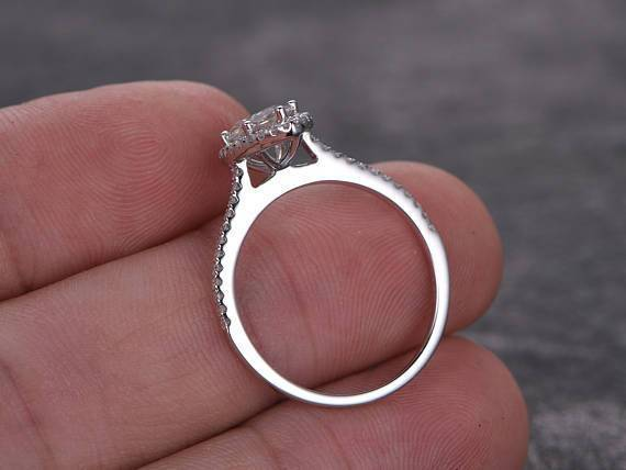 1.25 Carat Marquise Cut Moissanite and Diamond Engagement Ring in White Gold