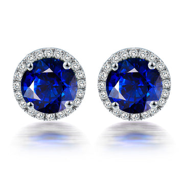 2.50 Carat Round Cut Sapphire and Diamond Halo Stud Earrings in White Gold