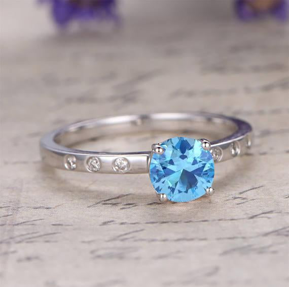 1.25 Carat Soliaire Aquamarine and Diamond Engagement Ring in White Gold