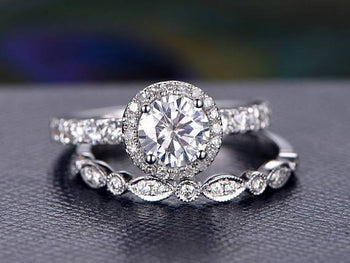 Antique Art Deco 1.50 Carat Round Cut Moissanite and Diamond Wedding Set in White Gold