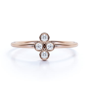 4 Stone Round Cut Diamond Stackable Ring  in Rose Gold