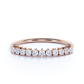 Stunning Semi Eternity Stacking Wedding Ring Band in Rose Gold