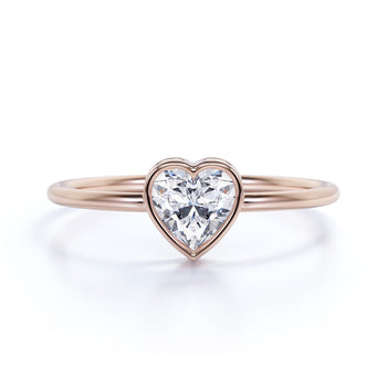 Bezel Set Solitaire Heart Shape Diamond Stacking Ring in Rose Gold