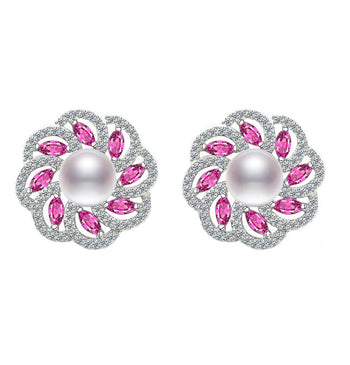 4 Carat Fresh Water Pearl with Pink Sapphire and Diamond Stud Earrings in White Gold