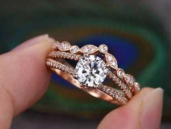 2 Carat Round Cut Moissanite and Crown Diamond Wedding Set in Rose Gold