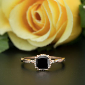 Unique 1.25 Carat Cushion Cut Black Diamond and Diamond Engagement Ring in Rose Gold