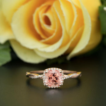 1.25 Carat Cushion Cut Peach Morganite and Diamond Engagement Ring in Rose Gold Art Deco Ring