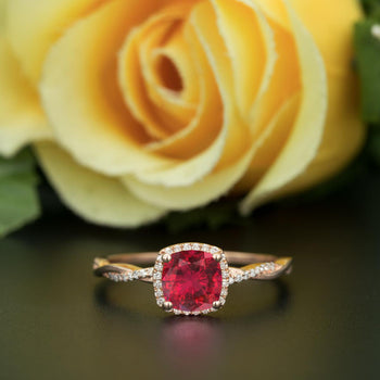 Unique 1.25 Carat Cushion Cut Ruby and Diamond Engagement Ring in 9k Rose Gold