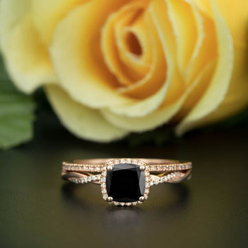 Unique 1.50 Carat Cushion Cut Black Diamond and Diamond Wedding Ring Set in Rose Gold