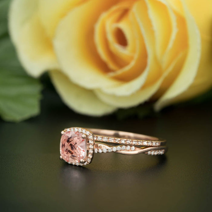 1.5 Carat Cushion Cut Peach Morganite and Diamond with Matching Wedding Band in 9k Rose Gold Art Deco Ring