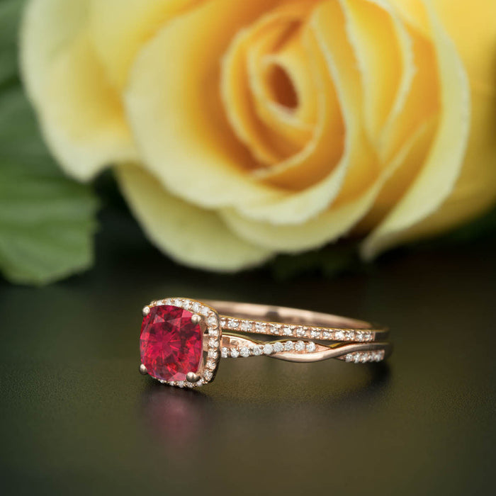 Unique 1.5 Carat Cushion Cut Ruby and Diamond Wedding Ring Set in 9k Rose Gold