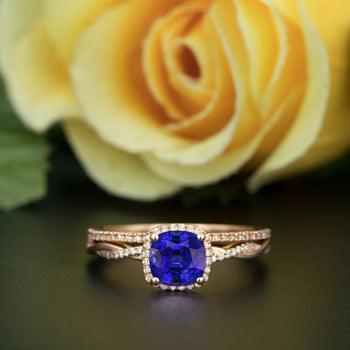 Unique 1.50 Carat Cushion Cut Sapphire and Diamond Wedding Ring Set in Rose Gold