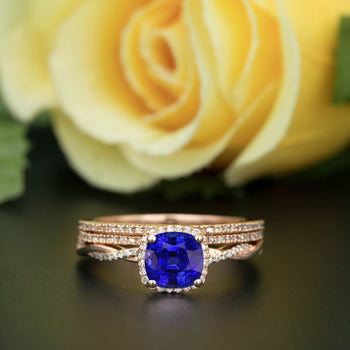 Unique 2 Carat Cushion Cut Sapphire and Diamond Trio Wedding Ring Set in Rose Gold