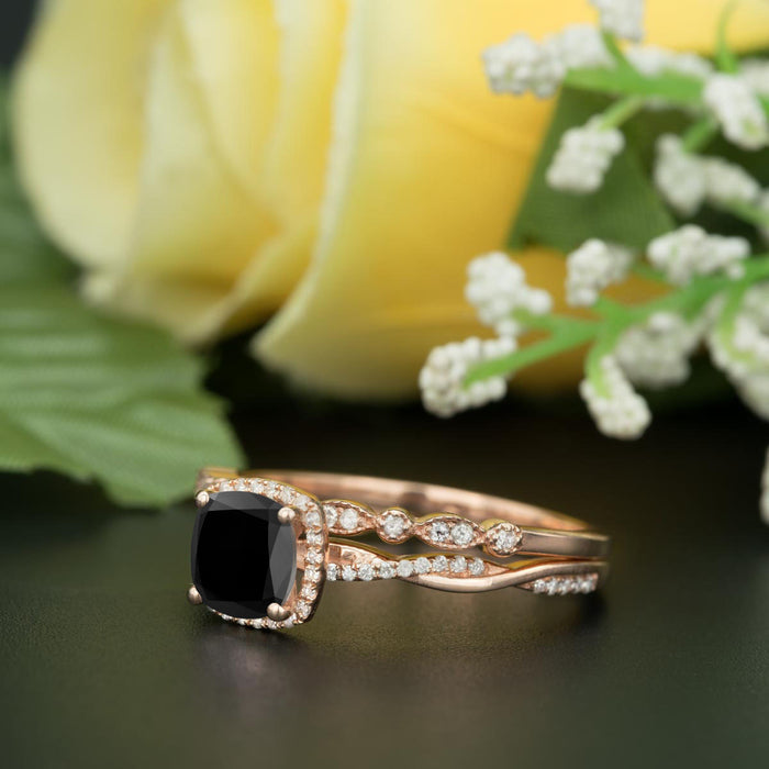 Unique 1.50 Carat Cushion Cut Black Diamond and Diamond with Matching Wedding Band in 9k Rose Gold