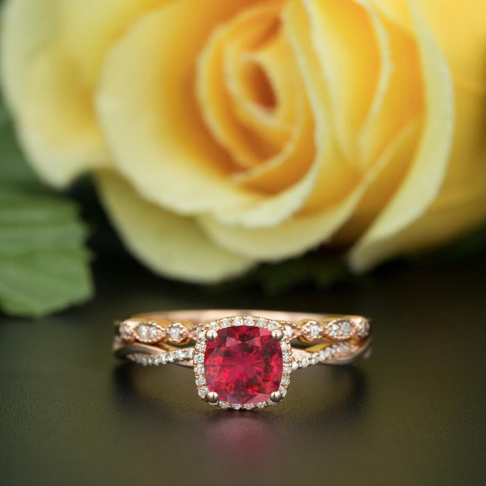 Unique 1.5 Carat Cushion Cut Ruby and Diamond with Matching Wedding Band in 9k Rose Gold