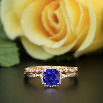 Unique 1.50 Carat Cushion Cut Sapphire and Diamond Bridal Ring Set in Rose Gold