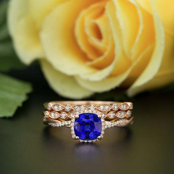 Unique 2 Carat Cushion Cut Sapphire and Diamond Trio Wedding Ring Sets in Rose Gold