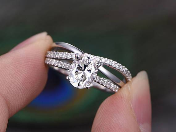 1.50 Carat Oval Cut Moissanite and Diamond Bridal Set in White Gold
