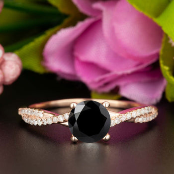 1.25 Carat Round Cut Black Diamond and Diamond Engagement Ring in Rose Gold Splendid Ring