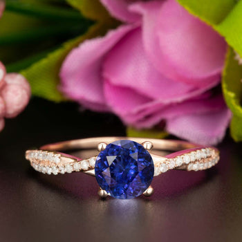 1.25 Carat Round Cut Sapphire and Diamond Engagement Ring in Rose Gold Splendid Ring