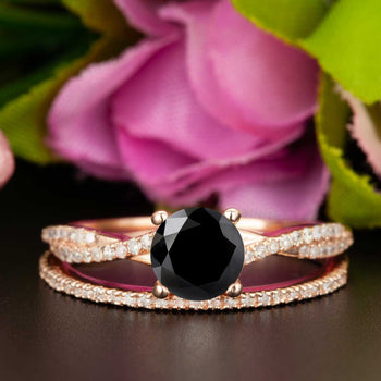 1.5 Carat Round Cut Black Diamond and Diamond Bridal Ring Set in 9k Rose Gold Splendid Ring