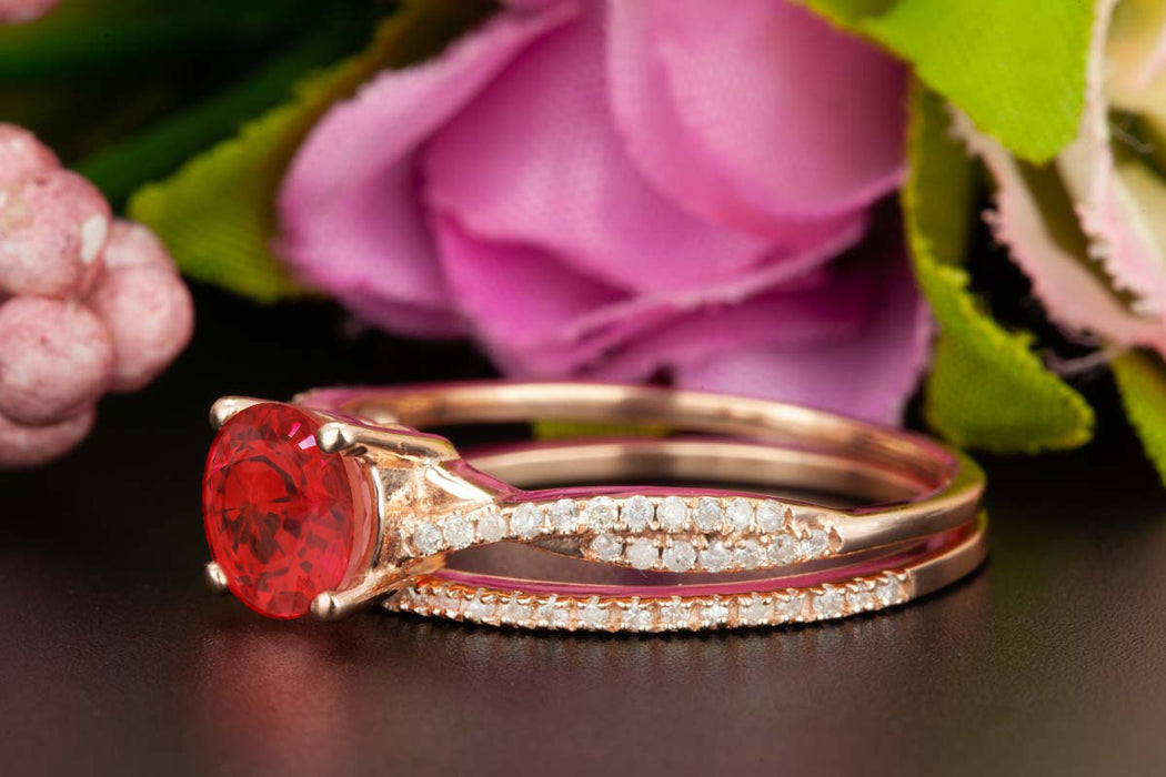 1.5 Carat Round Cut Ruby and Diamond Bridal Ring Set in 9k Rose Gold Splendid Ring