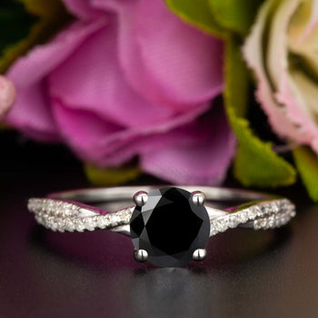 1.25 Carat Round Cut Black Diamond and Diamond Engagement Ring in White Gold Splendid Ring