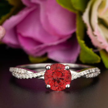 1.25 Carat Round Cut Ruby and Diamond Engagement Ring in 9k White Gold Splendid Ring