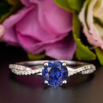 1.25 Carat Round Cut Sapphire and Diamond Engagement Ring in White Gold Splendid Ring