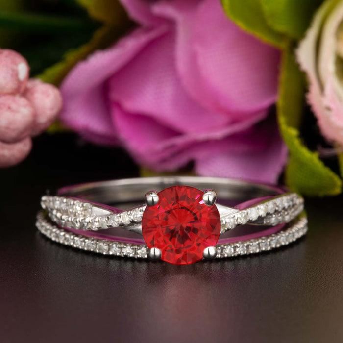 1.5 Carat Round Cut Ruby and Diamond Bridal Ring Set in 9k White Gold Splendid Ring