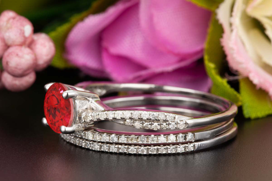 2 Carat Round Cut Ruby and Diamond Trio Bridal Ring Set in 9k White Gold Splendid Ring