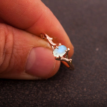 Twig 1.25 Carat Oval Cabochon Cut Blue Moonstone Engagement Ring in Rose Gold