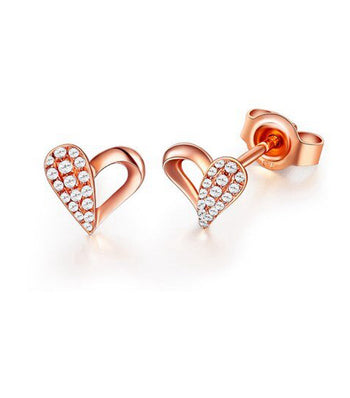 .20 Carat Round Cut Diamond Heart Shape Stud Earrings in Rose Gold