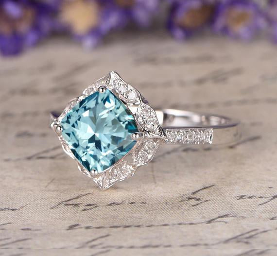 Antique style 1.25 Carat Aquamarine and Diamond Engagement Ring in White Gold