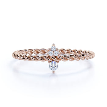 4 Stone Twist Style Diamond Stacking Ring in Rose Gold