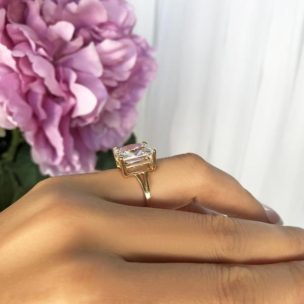 Radiant 4 Carat Emerald Cut Solitaire Engagement Ring in Yellow Gold over Sterling Silver