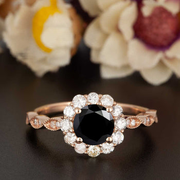1.25 Carat Round Cut Halo Black Diamond and Diamond Engagement Ring in Rose Gold Art Deco Ring