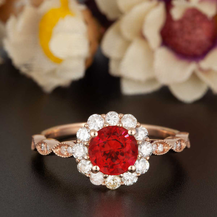 1.25 Carat Round Cut Halo Ruby and Diamond Engagement Ring in 9k Rose Gold Art Deco Ring