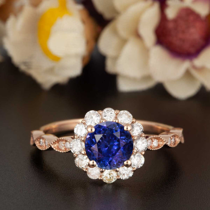 1.25 Carat Round Cut Halo Sapphire and Diamond Engagement Ring in Rose Gold Art Deco Ring